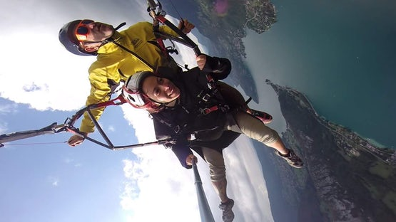 Tandem paragliding over lake Annecy