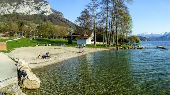 Plage de la Brune, Veyrier beach, lake Annecy
