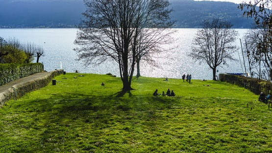 Plage du Plant beach, Veyrier, lake Annecy