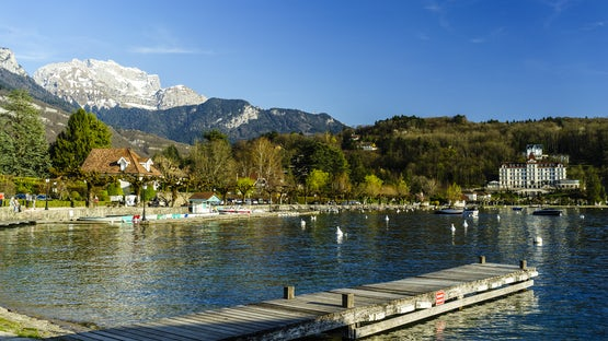 Menton Saint Bernard beach, lake Annecy