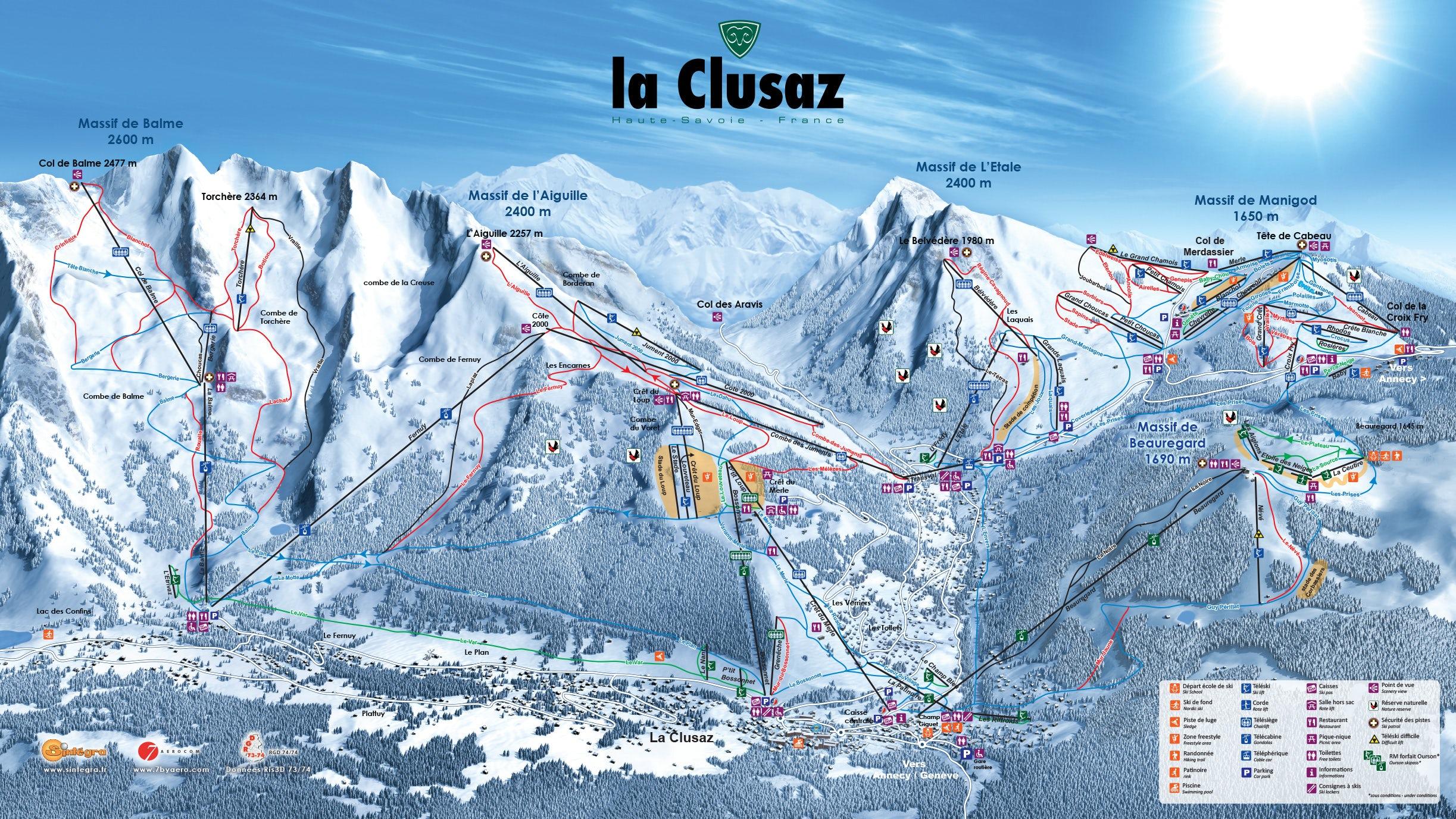 Manigod/La Clusaz Piste Map
